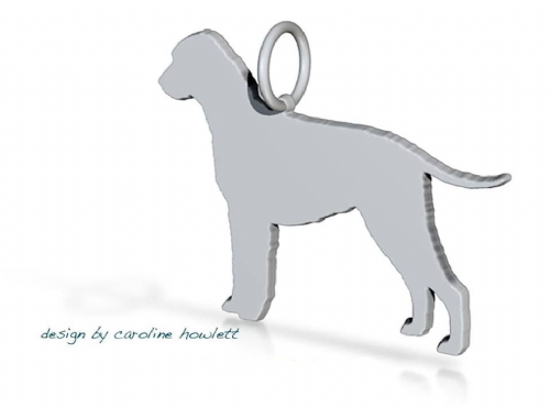Curly Coated retriever dog pendant sterling silver handmade by saw piercing Caroline Howlett Design